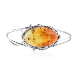 Extremely Rare Bi Colour Baltic Amber Bangle (Size 7.5) in Sterling Silver, Silver wt 17.00 Gms