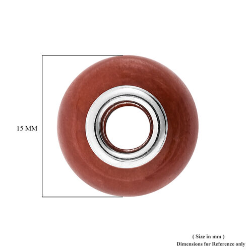 Charms De Memoire - Red Jade Charm in Rhodium Overlay Sterling Silver 17.50 Ct.