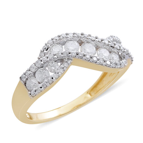 9K Yellow Gold SGL Certified Diamond (Rnd) (I3/G-H) Curve Ring 1.000 Ct.