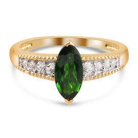 Russian Diopside and Natural Cambodian Zircon Ring in 14K Gold Overlay Sterling Silver 1.18 Ct.