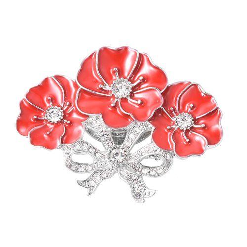 Poppy Design White Austrian Crystal Enamelled Poppy Flower Magnetic Brooch in Silver Tone