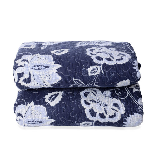 High-quality Printed Microfiber and Sherpa with White Floral Pattern Quilt (Size 240x180Cm) with Blu