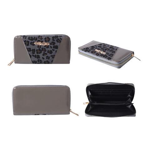 Designer Inspired- Leopard Design RFID Wallet (Size 19x3x9.5cm)- Grey