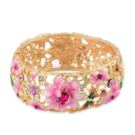 Multicolour Austrian Crystal (Rnd) Floral Enamelled Bangle (Size 7) in Yellow Gold Tone