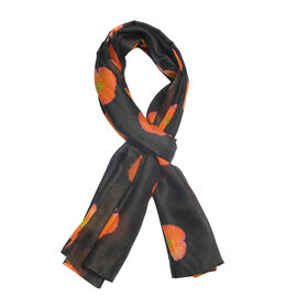 TJC Poppy Collection -100% Mulberry Silk Orange Poppy Flower Pattern Black Colour Scarf (Size 180X100 Cm)