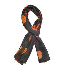 100% Mulberry Silk Orange Poppy Flower Pattern Black Colour Scarf (Size 180X100 Cm)