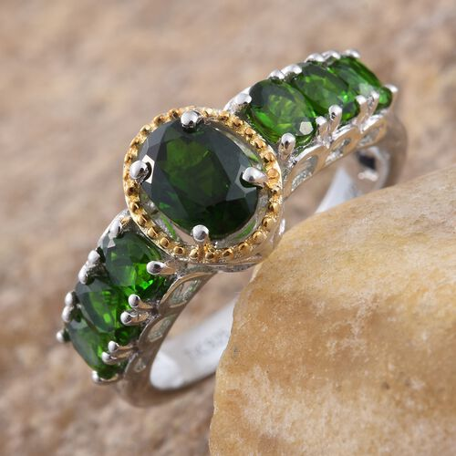 GP Russian Diopside (Ovl), Kanchanaburi Blue Sapphire Ring in Platinum and Yellow Gold Overlay Sterling Silver 2.250 Ct.