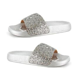 Ella Jasmine Glitter Slider Sandals in Silver Colour