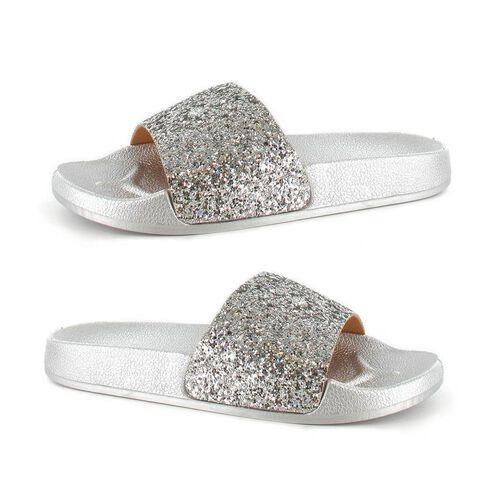 Ella Jasmine Glitter Slider Sandals (Size 3) - Silver