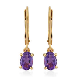 Amethyst (Ovl) Earrings in 14K Gold Overlay Sterling Silver 1.500 Ct.
