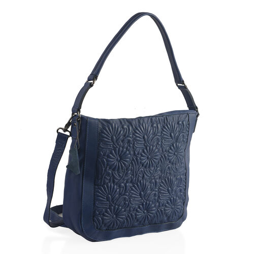 100% Super Soft New Zealand Leather Flower Quilted Navy Colour Handbag with Shoulder Strap (30x9x33 Cm)