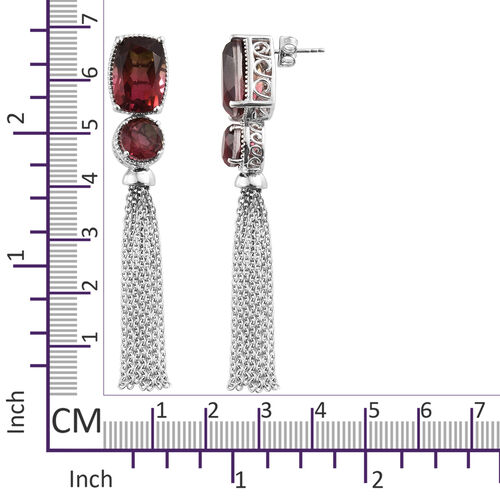 Finch Quartz (Cush 14x10 mm) Chandelier Earrings (With Push Back) in Platinum Overlay Sterling Silver 19.000 Ct.