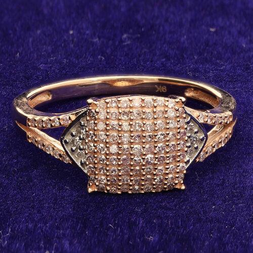 9K Rose Gold Natural Pink Diamond and White Diamond Ring 0.50 Ct.