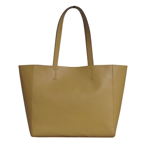 Assots London Abingdon Full Grain 100% Genuine Leather Tote Bag with Magnetic Closure (Size 32x12x28cm) - Mustard