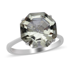 Green Amethyst Solitaire Ring in Rhodium Overlay Sterling Silver 6.55 Ct.