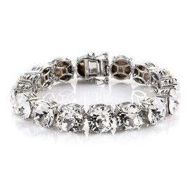 J Francis Crystal From Swarovski White Crystal Bracelet (Size 7.5) in Platinum Tone