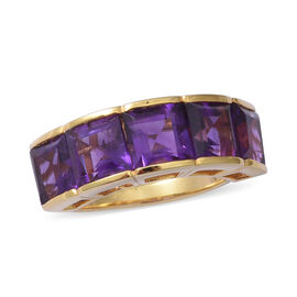 Amethyst (Sqr) Ring in Yellow Gold Overlay Sterling Silver 8.450 Ct, Silver wt 5.70 Gms.