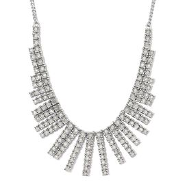 GP 1.53 Ct Diamond and Blue Sapphire Cluster Necklace in Platinum Plated Silver