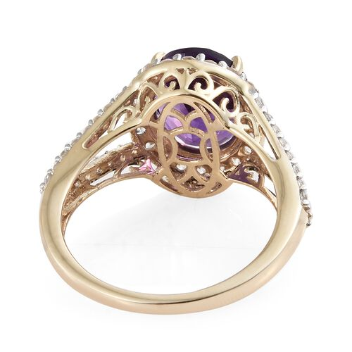 5.50 Ct AAA Moroccan Amethyst and Natural Cambodian Zircon Ring in 9K Gold