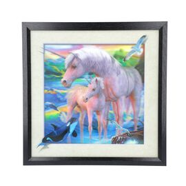 5D Unicorn Mother and Baby Painting (Size: 43.5x43.5x4.5 Cm) - Blue and Multi