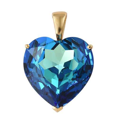 J Francis - Crystal from Swarovski - Swarovski Bermuda Blue Crystal (Hrt 28 mm) Pendant in 14K Gold