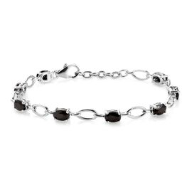 2.50 Ct Elite Shungite Station Bracelet in Platinum Plated Silver 7 Inch with Extender