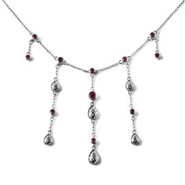 LucyQ Drop Collection - African Ruby Waterfall Necklace (Size 18) in Rhodium Overlay Sterling Silver