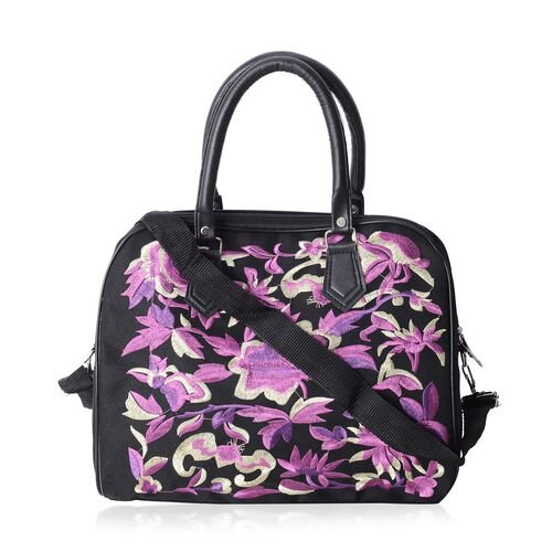 ShangHai Collection Bird and Floral Embroidered Large Tote Bags with Adjustable Crossbody Strap (35x