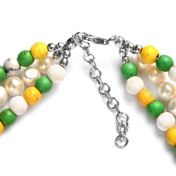Multi Howlite and Freshwater Pearl Necklace (Size 18 with 2 inch Extender) in Rhodium Overlay Sterling Silver