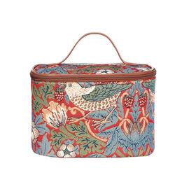 SIGNARE - Tapastry William Morris Strawberry Thief Red Vanity Bag                     (23x16x16 cms)