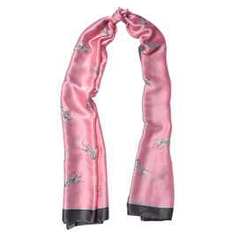 Pink and Black Colour Zebra Pattern Scarf (Size 90x180 Cm)