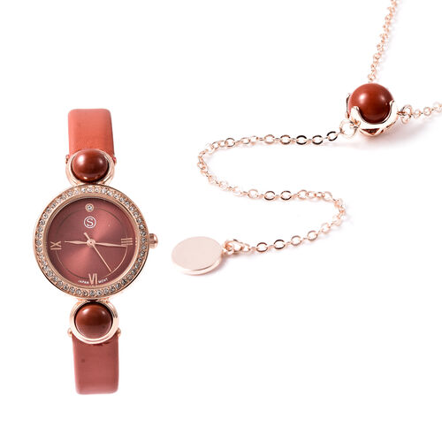 2 Piece Set - STRADA Japanese Movement Red Jasper and White Austrian Crystal Studded Water Resistant