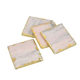 Set of 4 - Square Shaped Marble Coasters (Size 10x10cm) - Pink