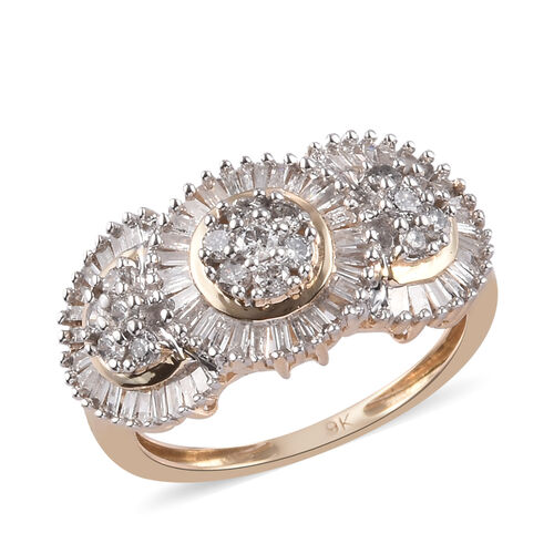 1 Carat Diamond Cluster Ring in 9K Yellow Gold SGL Certified I3 GH