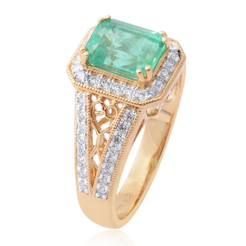 Signature Collection- ILIANA 18K Yellow Gold AAA Boyaca Colombian Emerald and Diamond (SI/G-H) Ring 1.960 Ct.