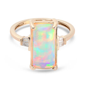 9K Yellow Gold AA Ethiopian Welo Opal and White Diamond Ring 3.16 Ct.
