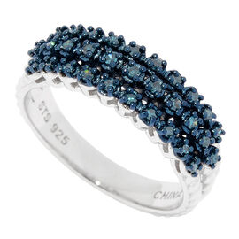 0.25 Ct Blue Diamond Cluster Ring in Rhodium and Blue Plated Sterling Silver