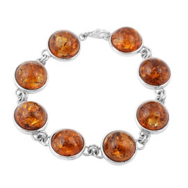 40 Ct Baltic Amber Bracelet in Silver 14.84 Grams 7.5 Inch
