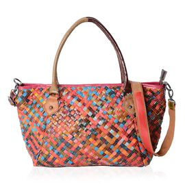 Morocco Collection - 100% Genuine Leather Multi Colour Blocking Tote Bag with Removable Shoulder Strap (Size 32.5x24x13.5 Cm)