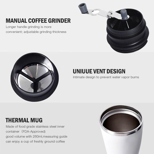 Portable Coffee Grinder (Size 8.6x18.6 cm) - White