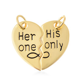 Set of 2 - Yellow Gold Overlay Sterling Silver Couple Pendant