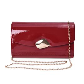 Clutch Bag with Shoulder Chain Strap and Magnetic Flap Closure (Size 23.5x13.5x6 Cm) - Red