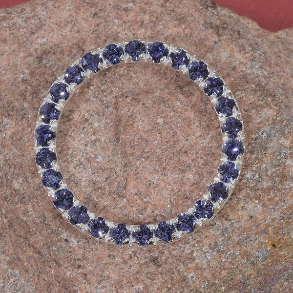J Francis Tanzanite Colour Crystal from Swarovski Circle Pendant in Sterling Silver