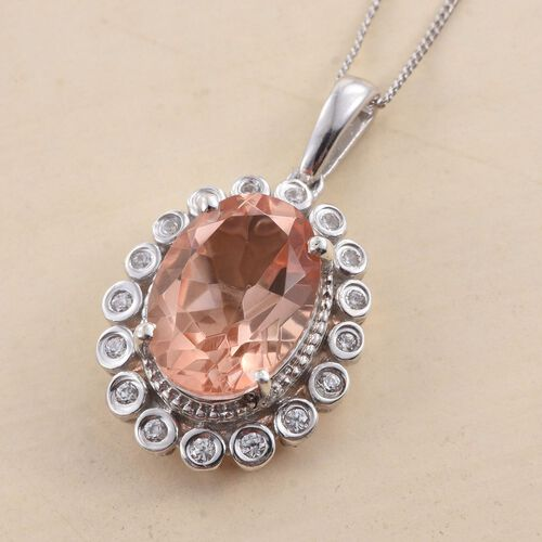 Galileia Blush Pink Quartz (Ovl 6.15 Ct), Natural Cambodian Zircon Pendant With Chain in Platinum Overlay Sterling Silver 6.500 Ct.