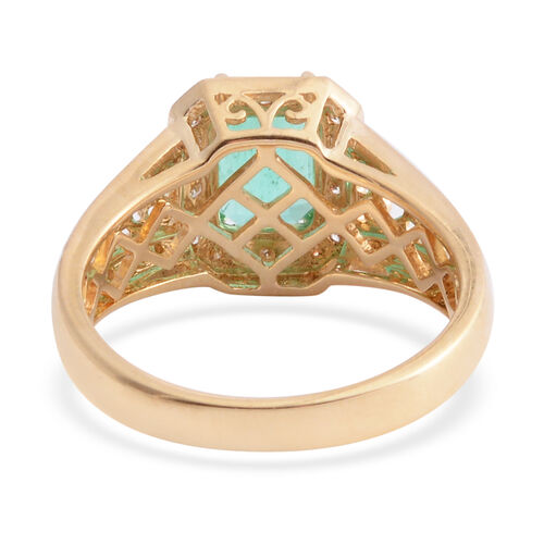 Signature Collection- ILIANA 18K Yellow Gold AAA Boyaca Colombian Emerald (Oct) Diamond (SI/G-H) Ring 1.960 Ct.