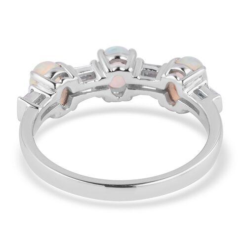 ILIANA 18K White Gold AAA Ethiopian Welo Opal (Ovl), Diamond (SI G-H) Ring  1.250 Ct.