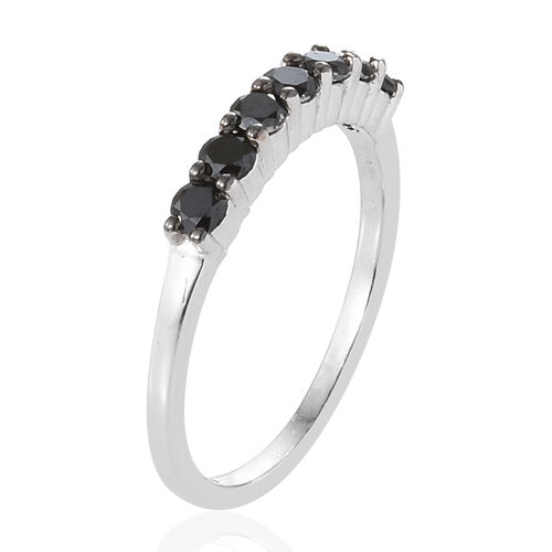 Black Diamond (Rnd) Seven Stone Band Ring in Platinum Overlay Sterling Silver 0.500 Ct.