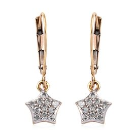 9K Yellow Gold SGL Certified Diamond (I3/G-H) Lever Back Star Earrings 0.25 Ct.