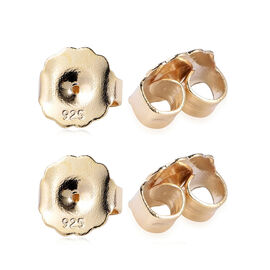 Set of 2 Pairs Extra Large Ear Backs 9mm Push Back in Yellow Gold Plated Sterling Silver