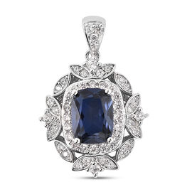 ELANZA Simulated Sapphire and Simulated Diamond Pendant in Rhodium Overlay Sterling Silver